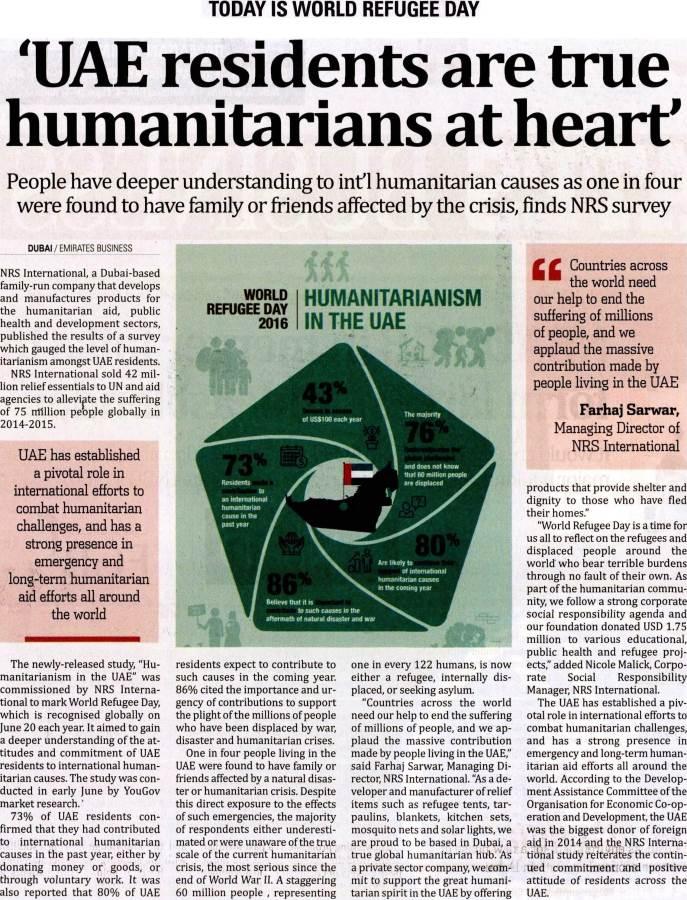NRS International makes headlines across the UAE on World Refugee