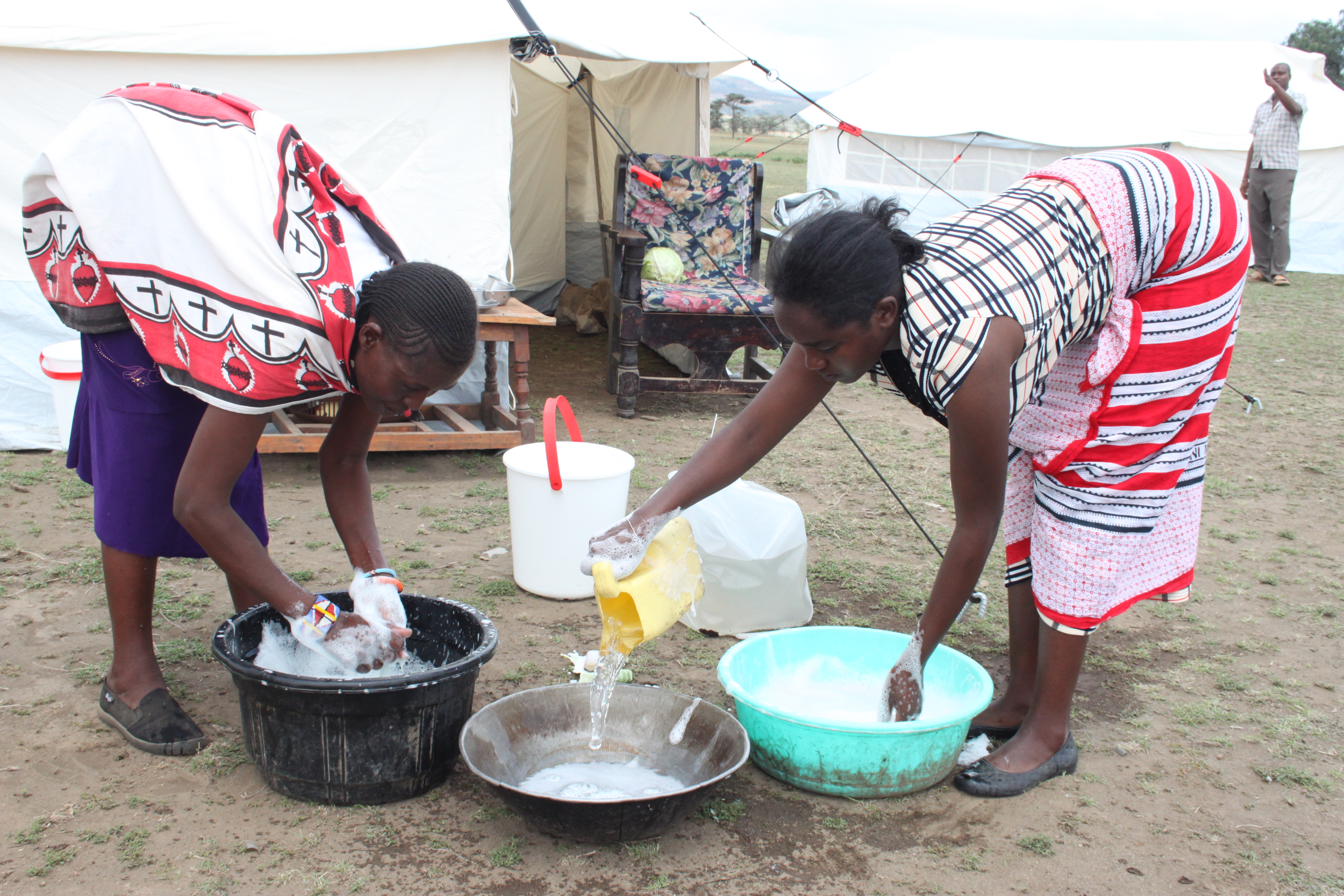 NRS Relief core relief items in Kenya_water bucket, kitchen set, family tent