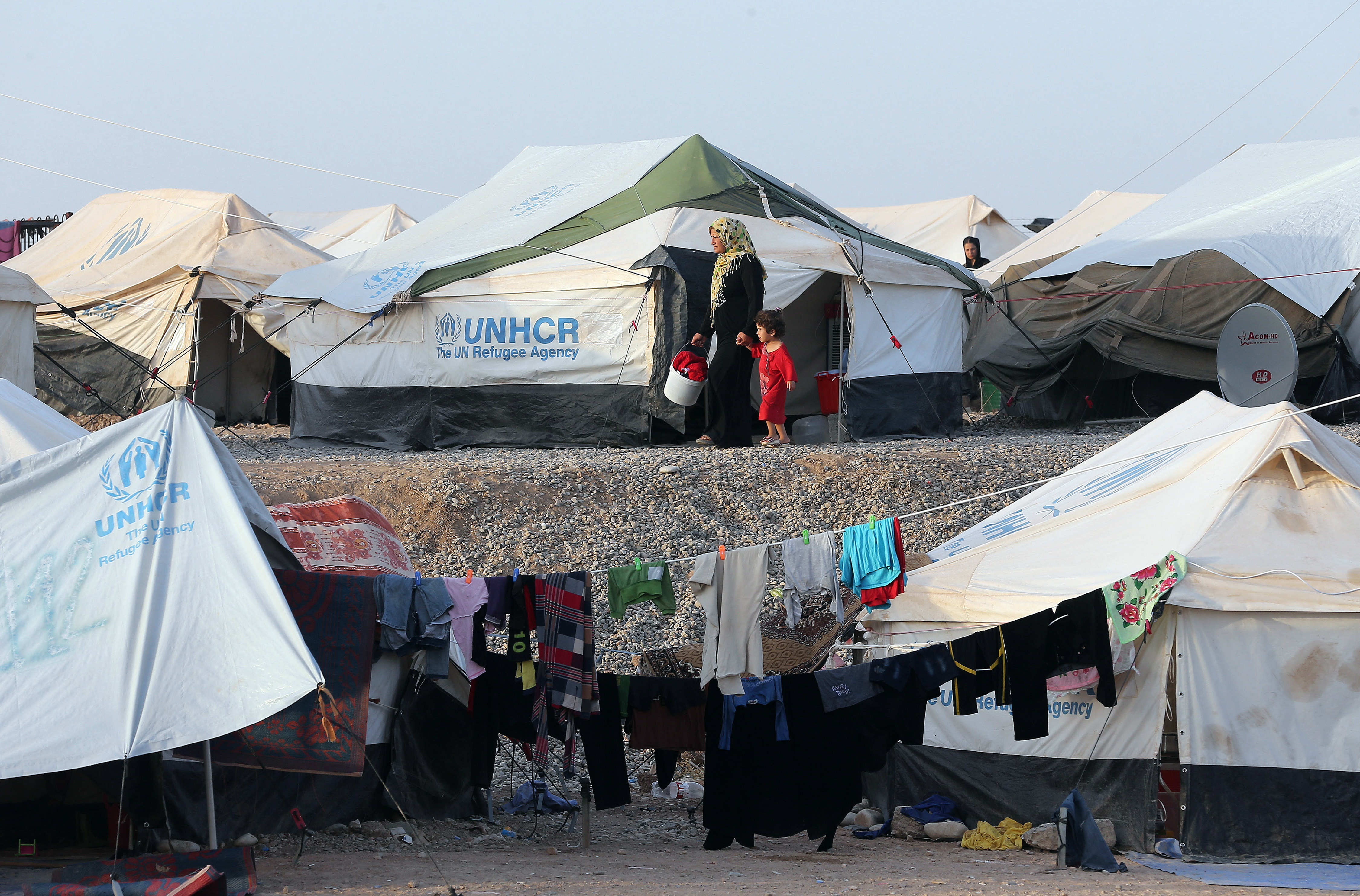 Displaced Iraqis shelter in Erbil camp