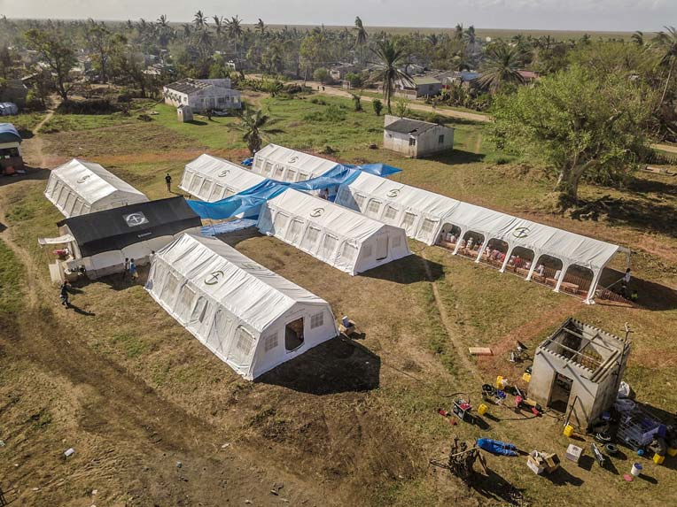 NRS Relief's multipurpose tents serve as emergency field hospital in Mozambique through Samaritan's Purse