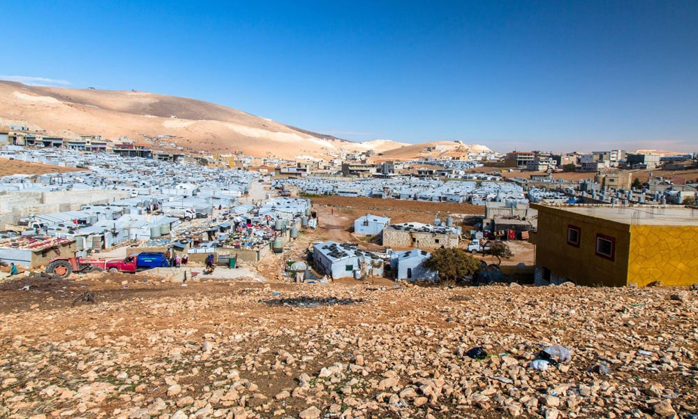 Ariel view of NRS Relief tents at Arsal camp Lebanon 2018