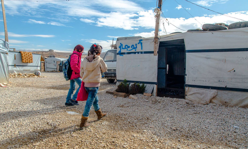 girls visiting tent of NRS Relief Arsal camp Lebanon 2018