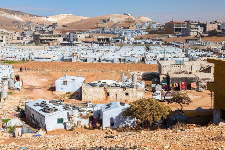 NRS Relief Arsal camp Lebanon 2018 Ariel tent view