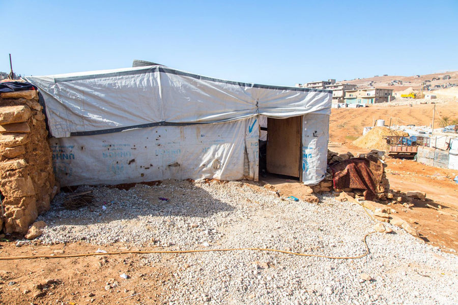 NRS Relief Arsal camp Lebanon 2018 front tent view