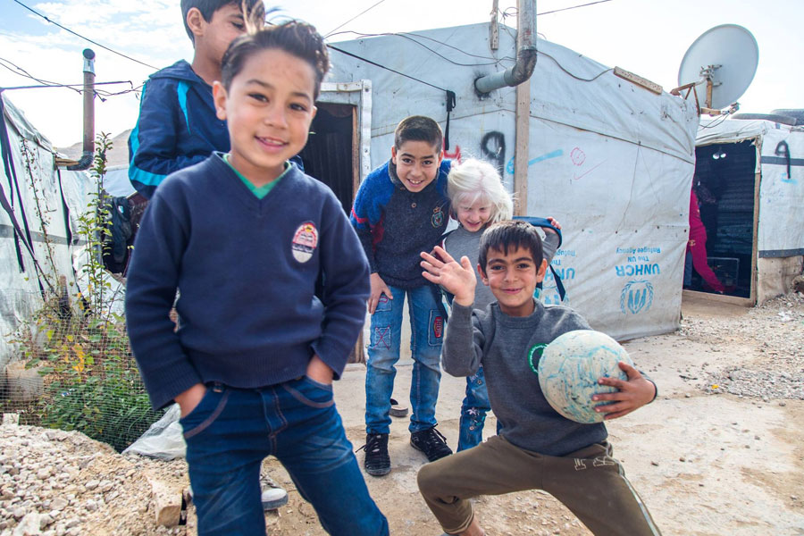 NRS Relief Arsal camp Lebanon 2018 refugee boys