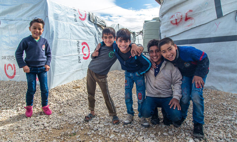 refugee boys at NRS Relief Arsal camp Lebanon 2018