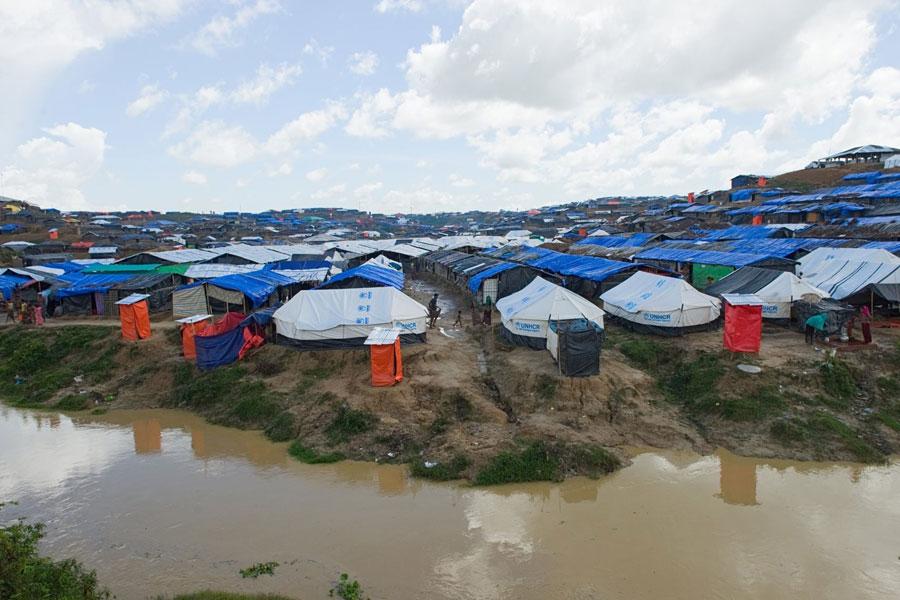 Aerial view of Rohingya refugee tents at Kutupalong camp Bangladesh