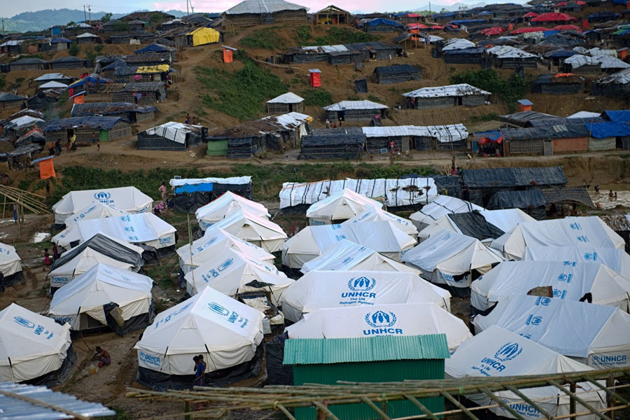 Aerial view of Rohingya refugee tents in Bangladesh