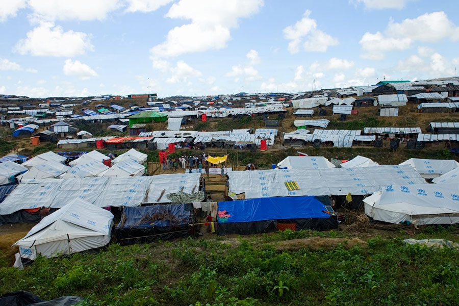 Aerial view of Rohingya refugees at Kutupalong camp Bangladesh