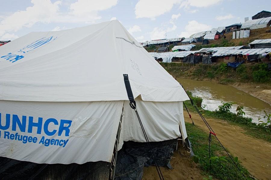 front door Rohingya refugee tent door at Kutupalong camp Bangladesh
