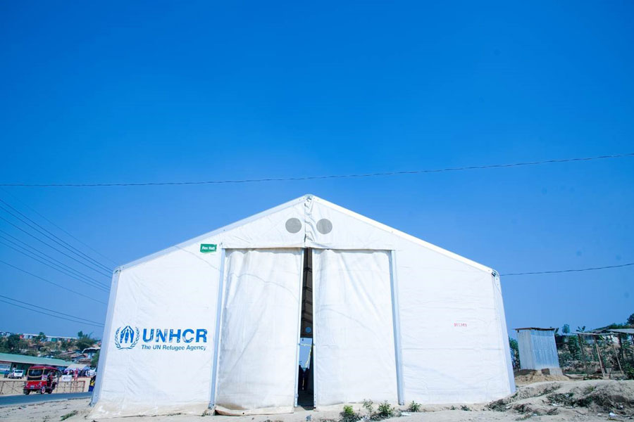 front full view of MDU UNHCR standard tent by NRS Relief at Kutupalong Bangladesh