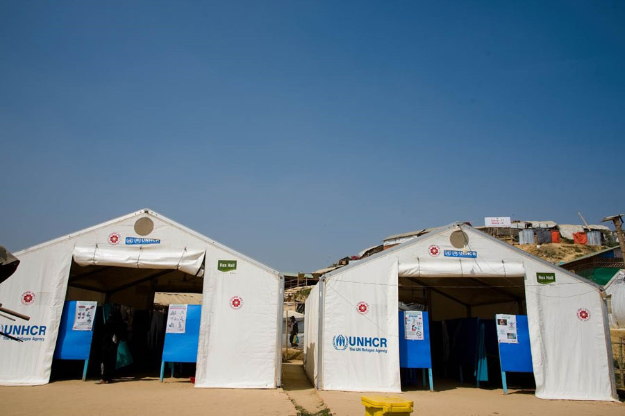 front full view of MSU UNHCR standard tents by NRS Relief in Kutupalong Bangladesh