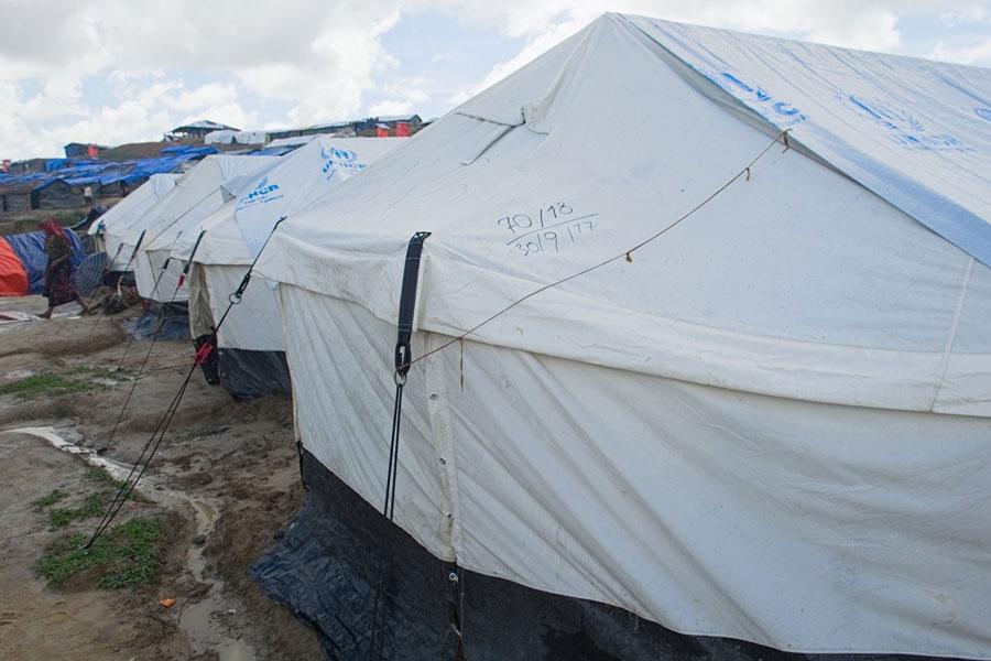 front left side of Rohingya refugee tents at Kutupalong camp Bangladesh