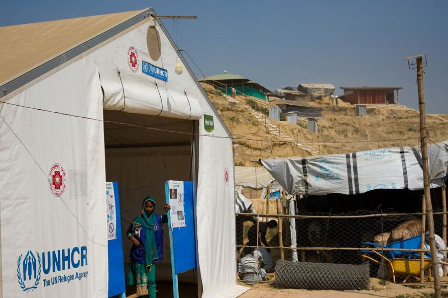 front left view of MSU UNHCR standard tent by NRS Relief at Kutupalong Bangladesh