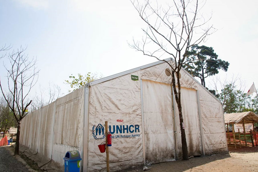 front left view of MSU UNHCR standard tent in Kutupalong Bangladesh