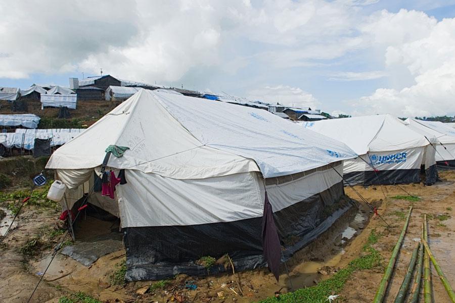 front right door of Rohingya refugees tent at Kutupalong camp Bangladesh