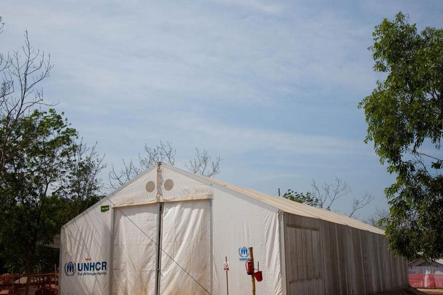 front right view of MSU UNHCR standard tent at Kutupalong Bangladesh