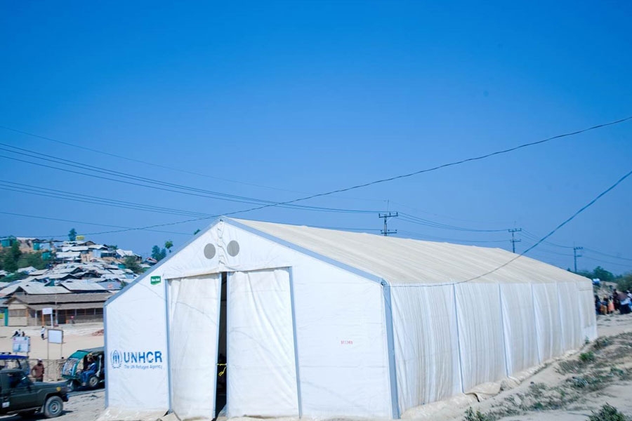 front right view of MSU UNHCR standard tent by NRS Relief at Kutupalong Bangladesh