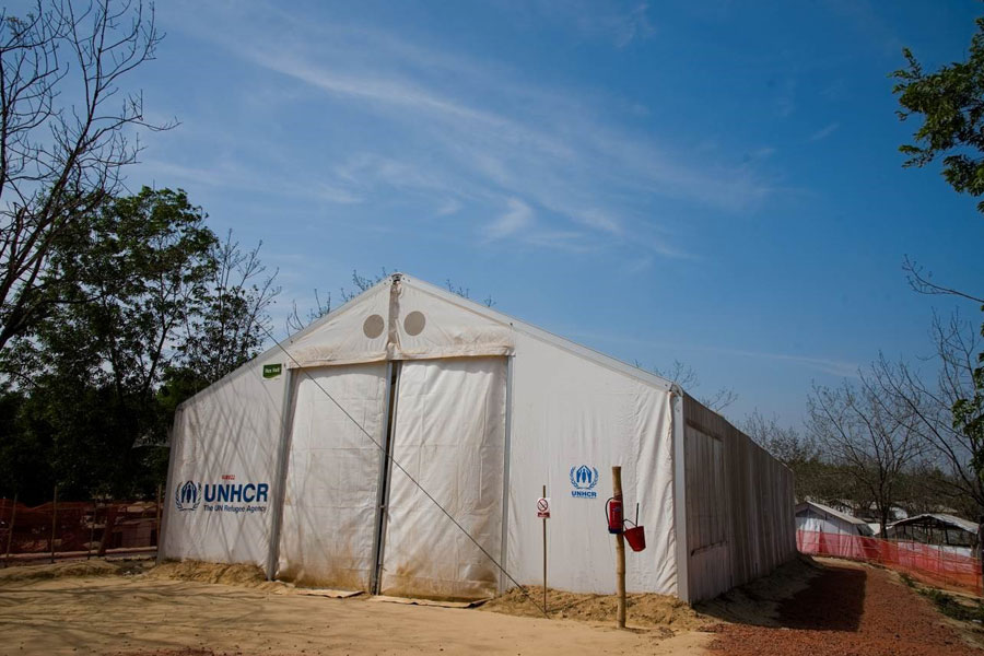 front right view of MSU UNHCR standard tent by NRS Relief in Kutupalong Bangladesh