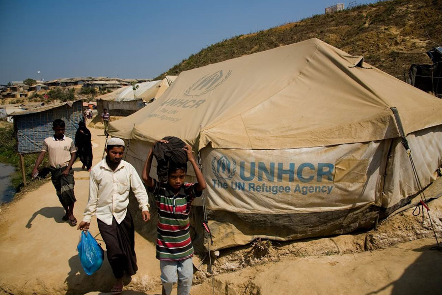 front view of MSU tents in Kutupalong Bangladesh