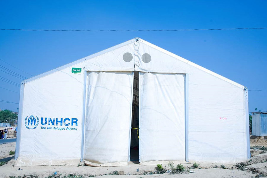 front view of MSU UNHCR standard tent by NRS Relief at Kutupalong Bangladesh