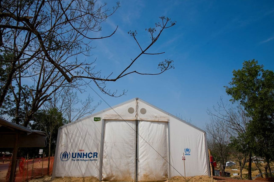 front view of MSU UNHCR standard tent by NRS Relief in Kutupalong Bangladesh