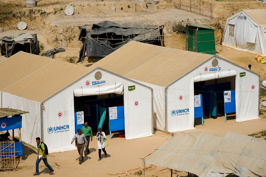 front view of MSU UNHCR standard tents by NRS Relief at Kutupalong Bangladesh