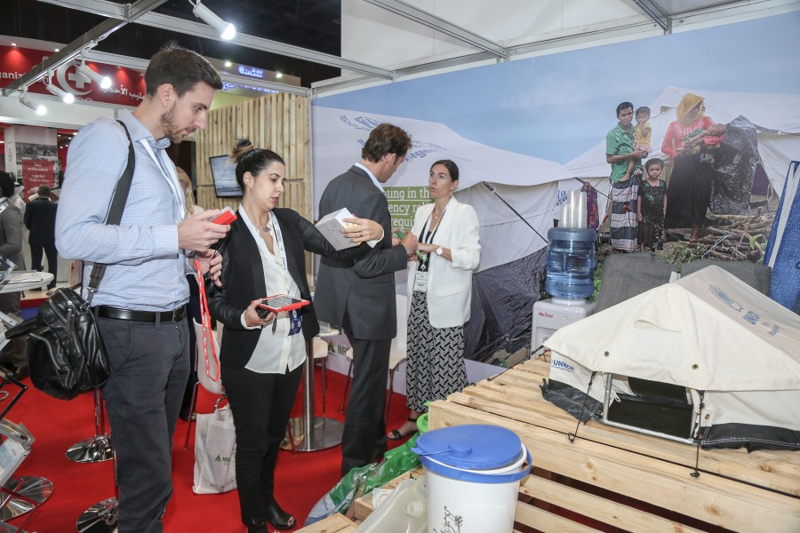 guests at NRS Relief booth at DIHAD 2018