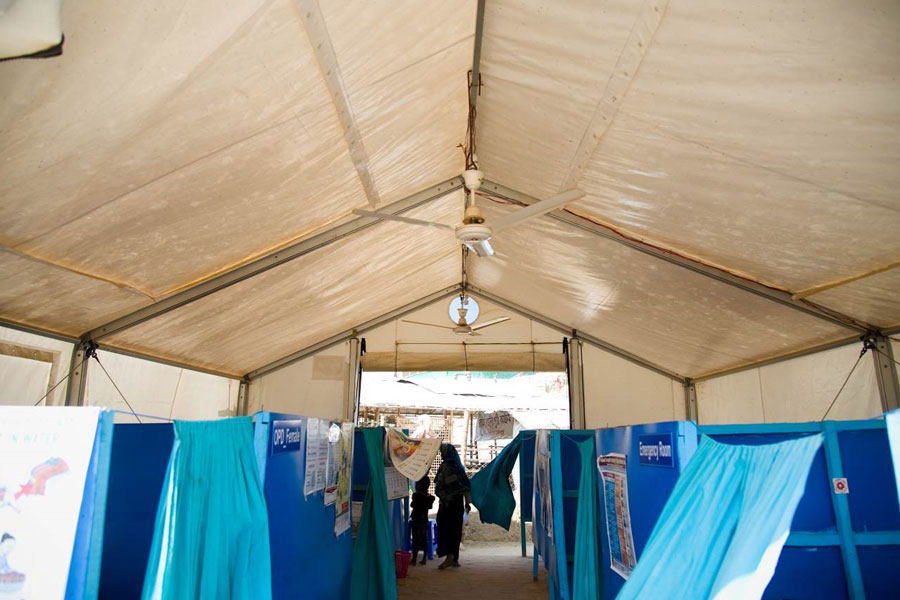 inner front view of MSU tent by NRS Relief with refugees in Kutupalong Bangladesh