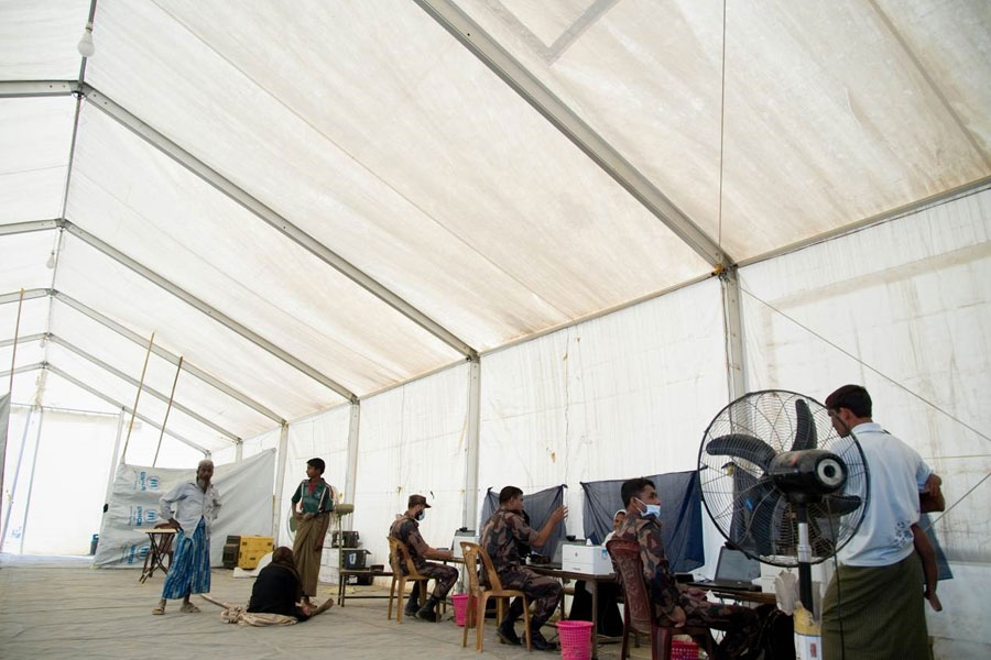 inner right view of MSU tent by NRS Relief with refugees at Kutupalong Bangladesh
