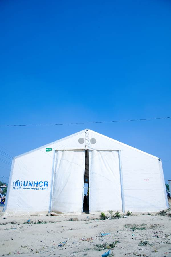 portrait view of MSU UNHCR standard tent by NRS Relief at Kutupalong Bangladesh