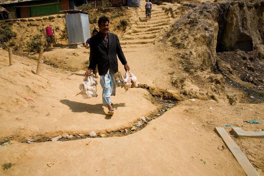 refugee men at Kutupalong camp Coxs Bazaar Bangladesh