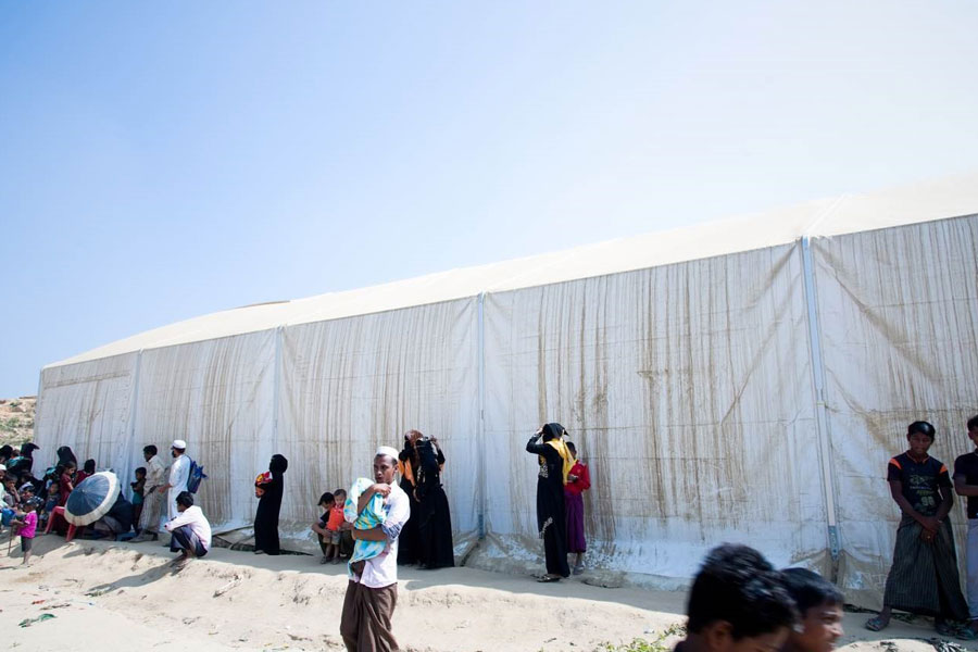 refugees at MSU UNHCR standard tent by NRS Relief in Kutupalong Bangladesh