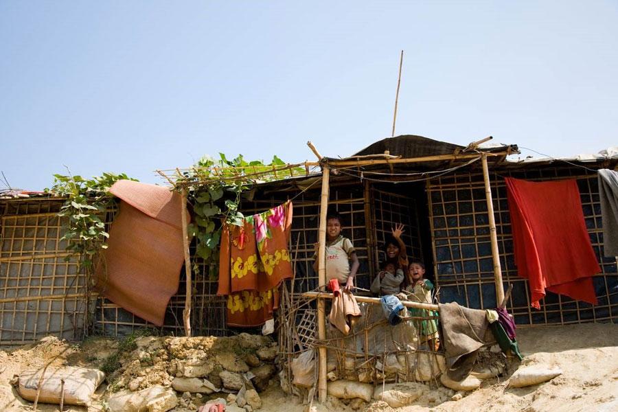 refugees at tents in Kutupalong camp Coxs Bazaar Bangladesh