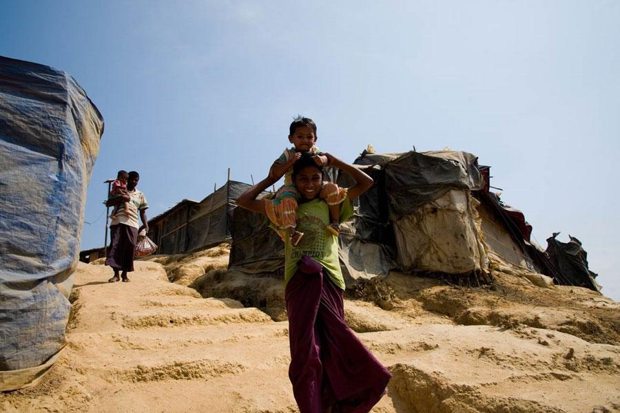 refugees playing at Kutupalong camp Coxs Bazaar Bangladesh