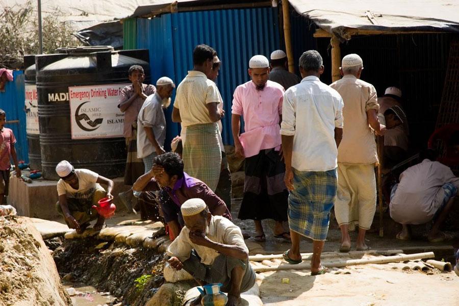 refugees using used water Kutupalong camp Coxs Bazaar Bangladesh