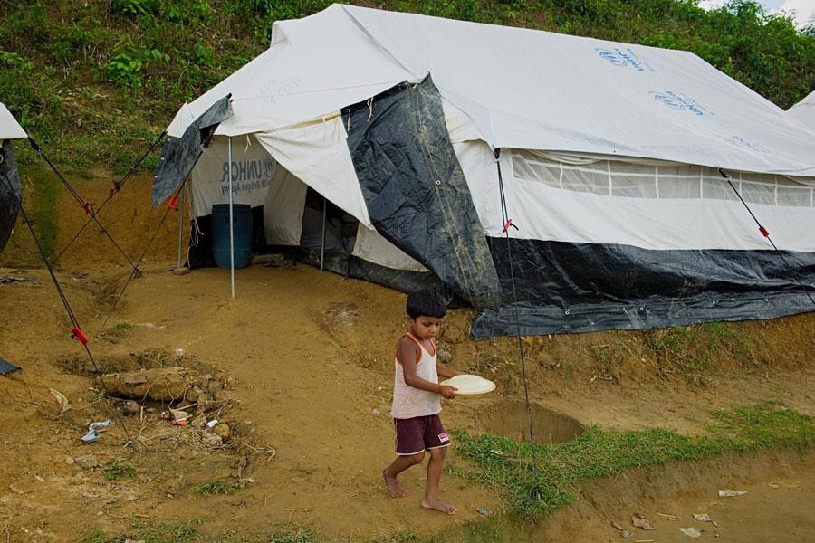 Rohingya boy refugee at Kutupalong camp Bangladesh