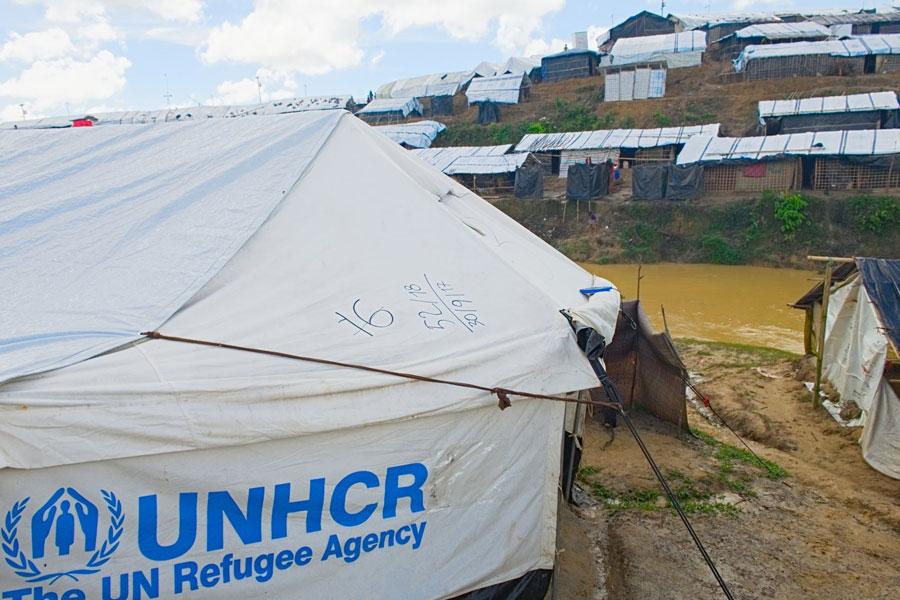 Rohingya refugee tent at Kutupalong camp Bangladesh