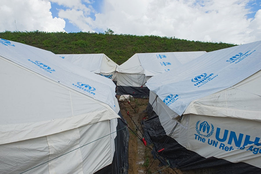Rohingya refugee tents in Kutupalong camp Bangladesh