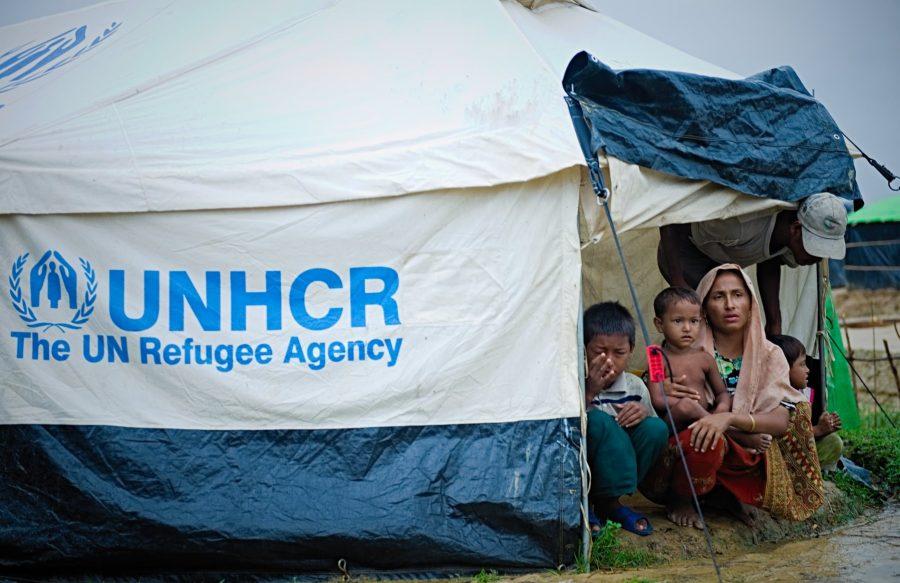 Rohingya women refugees front tent door at Kutupalong camp Bangladesh