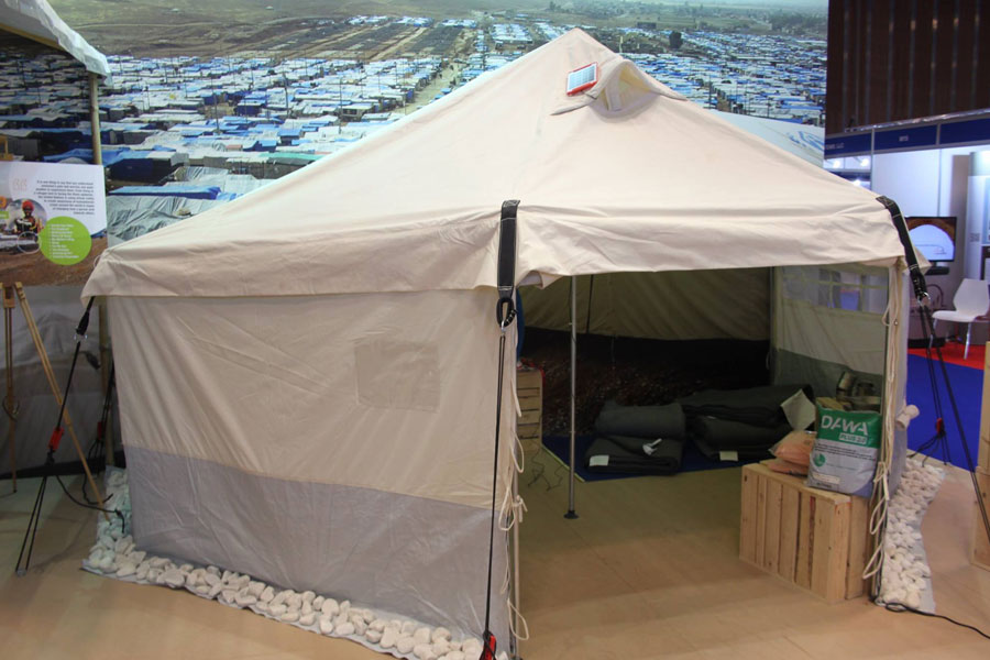 tent showcase by NRS Relief at DIHAD 2017