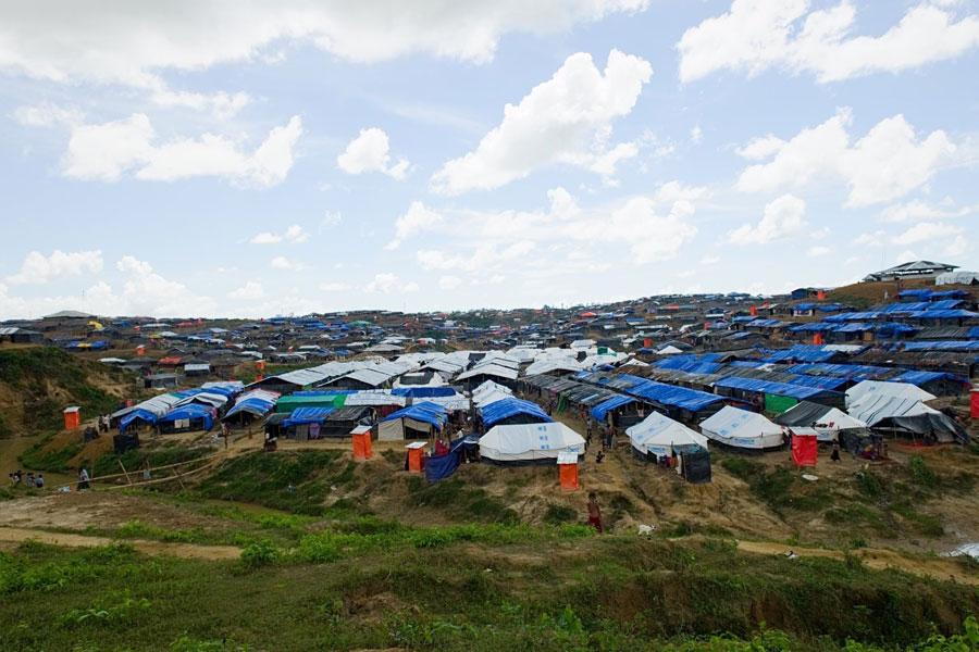 Aerial front view of Rohingya refugees at Kutupalong camp Bangladesh