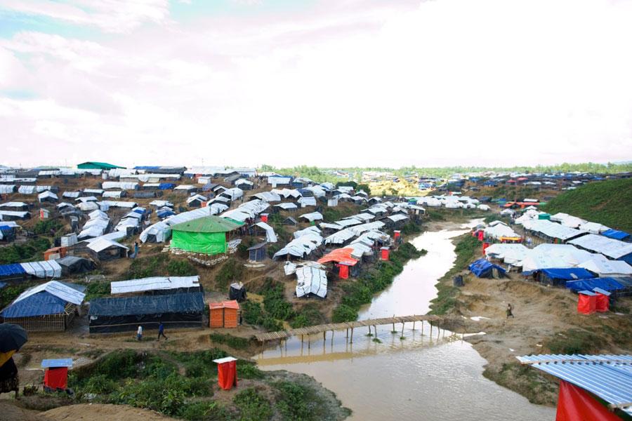 Aerial view of Rohingya refugee tents at Kutupalong Bangladesh
