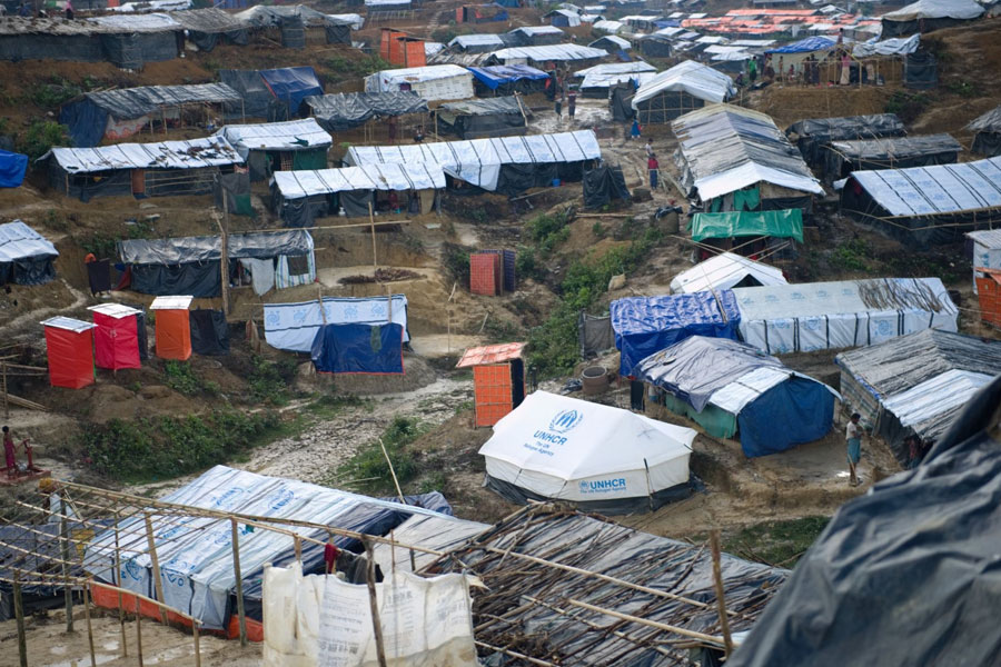 Aerial view of Rohingya refugee tents in Kutupalong Bangladesh