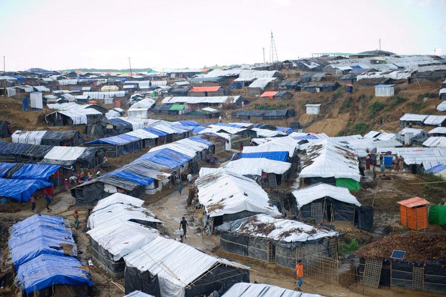 Aerial view of Rohingya refugee tents in Kutupalong camp Bangladesh