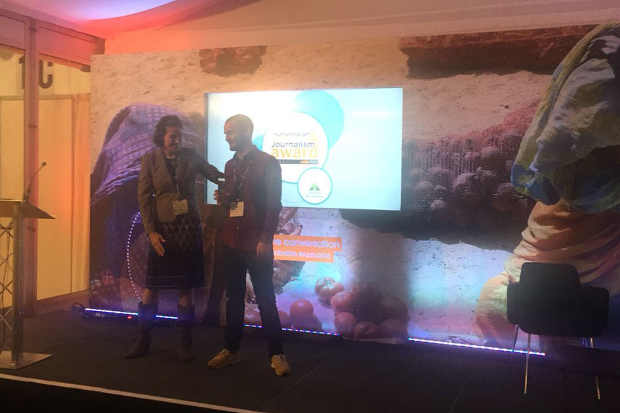 Boy receiving award at AidEx event 2016 Brussels Expo