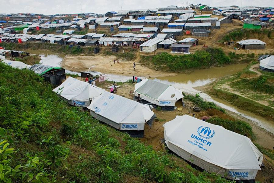 Drone view of Rohingya refugees at Kutupalong camp Bangladesh