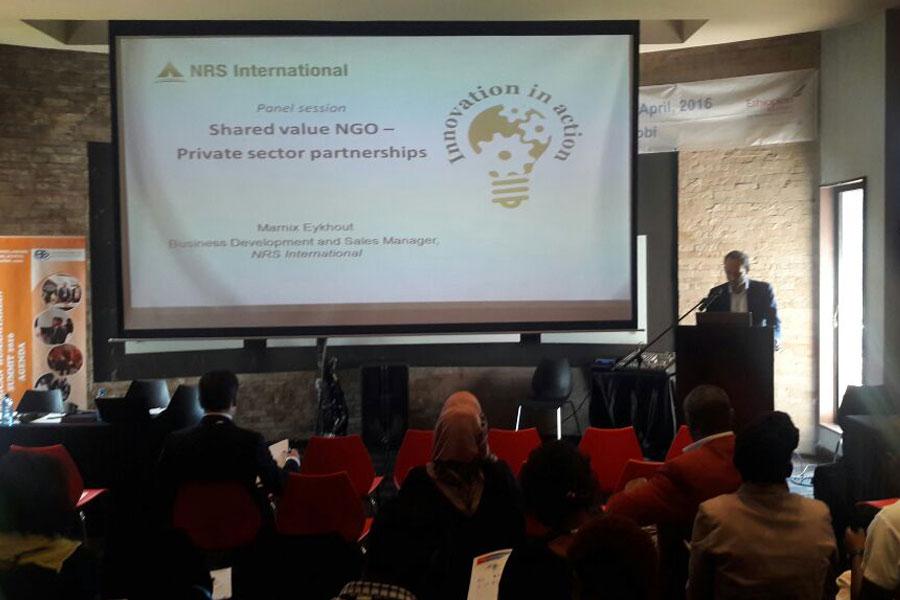 explaining about NRS International at Humanitarian Summit Kenya 2016