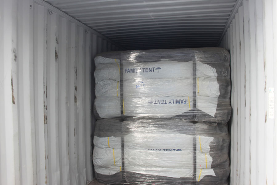 family tent of NRS Relief logistics in Dubai warehouse 2016