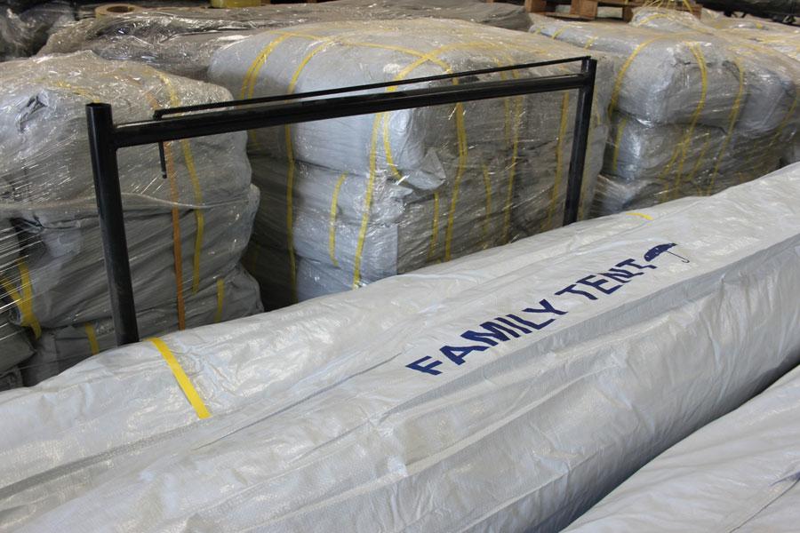 family tents of NRS Relief logistics Dubai warehouse 2016